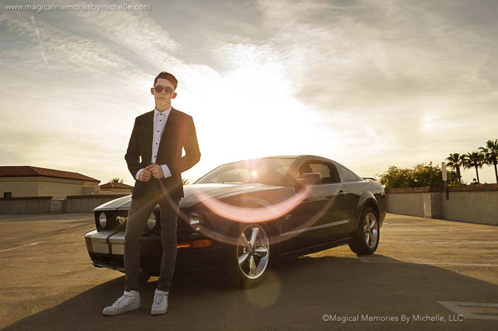 A Mustang, A Parking Garage, and a Senior Guy | Downtown Mesa Senior Pictures